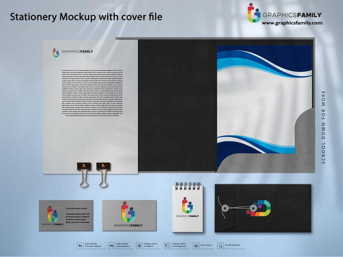 Stationery Mockup with Cover