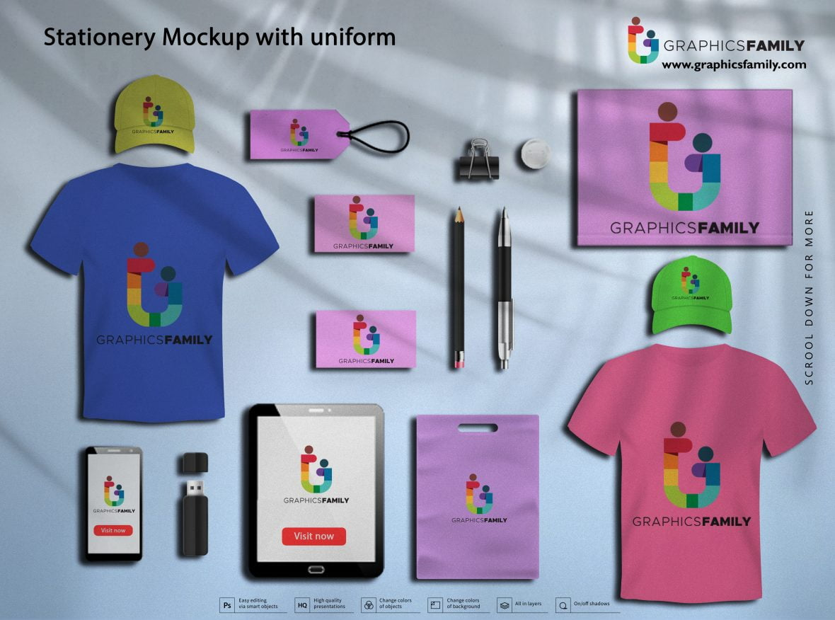 Stationery Mockup with Uniform