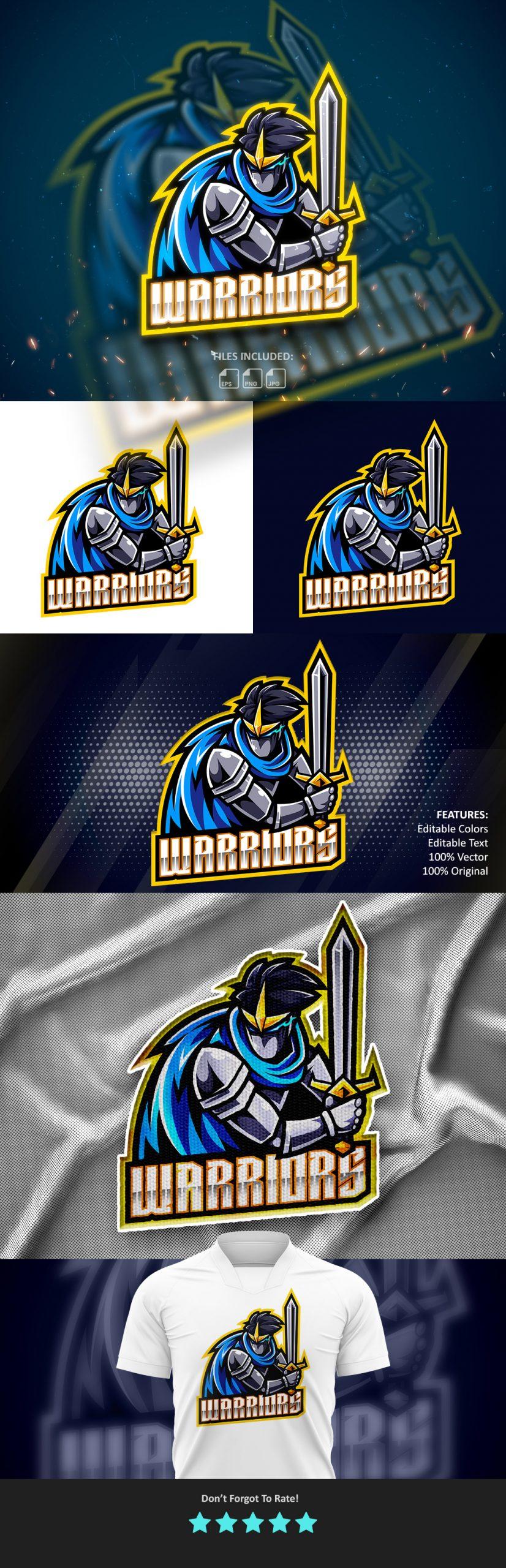 Warriors-Esports-Gaming-Clan-Mascot-Logo-Free-Download