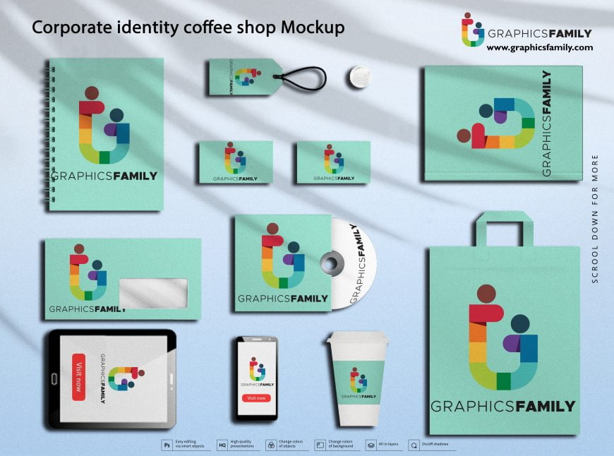 Corporate Identity Coffee Shop Mockup by GraphicsFamily
