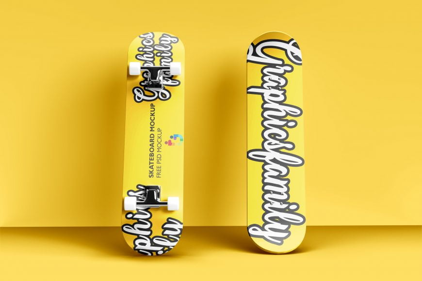 Free skateboard Mockup PSD by GraphicsFamily