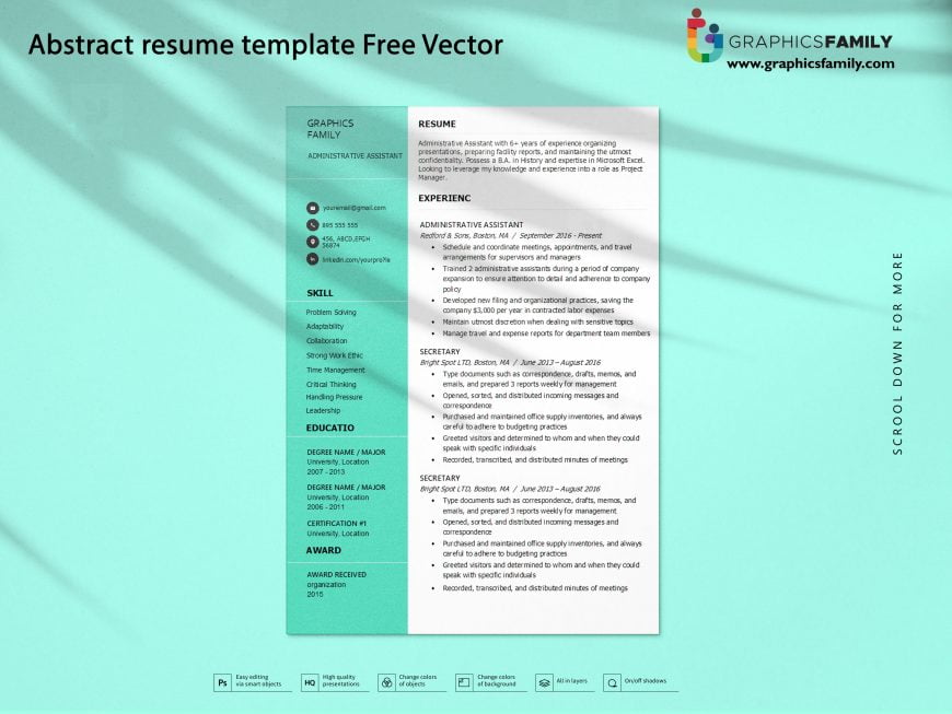 Abstract resume template Free Vector