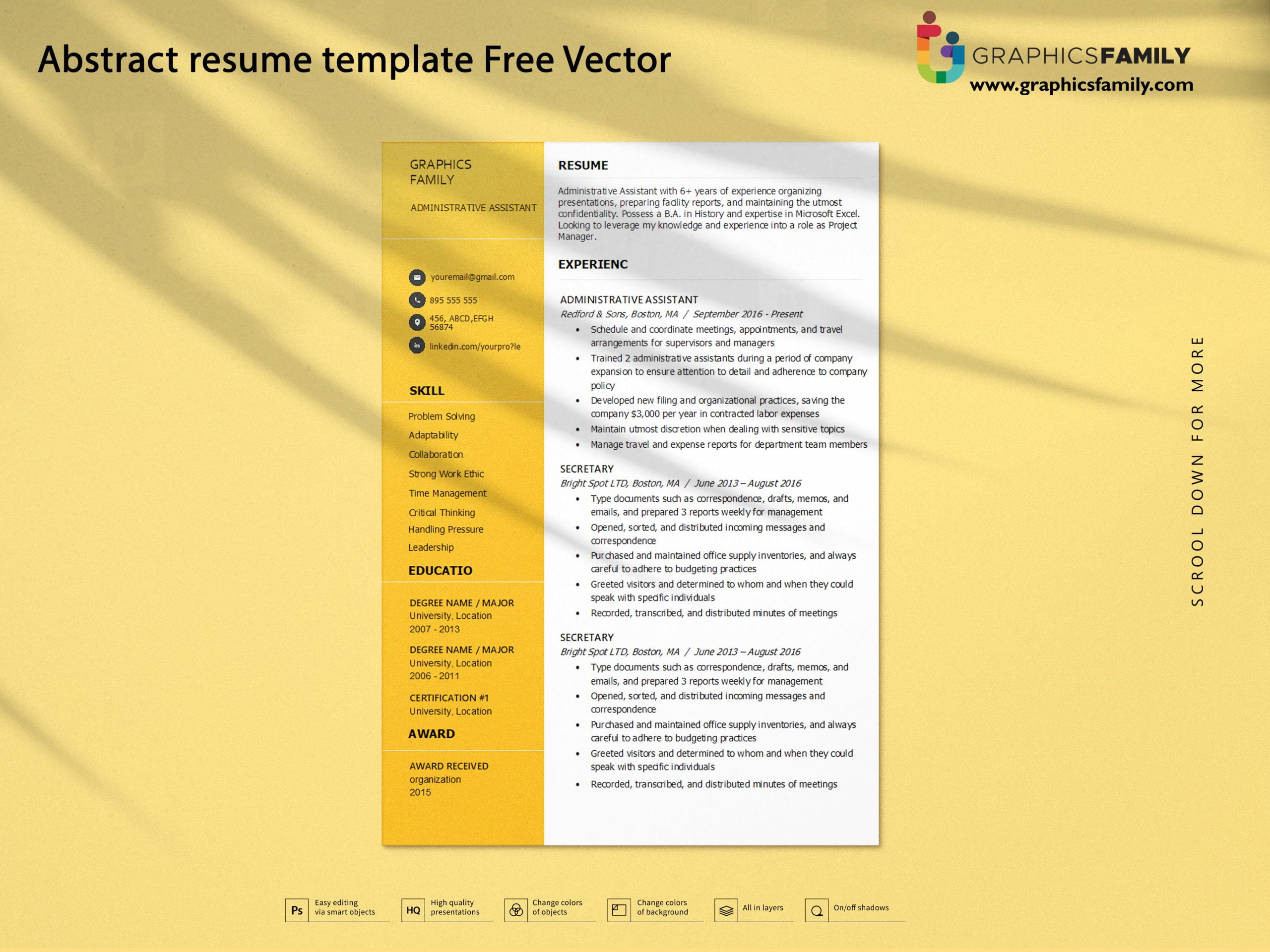 Abstract resume template Free Vector Download