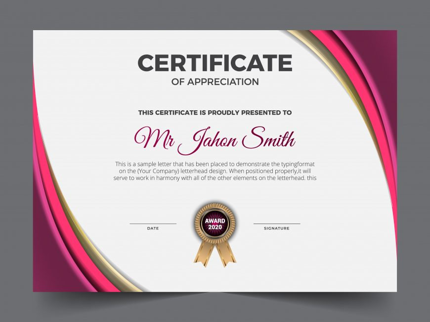 Beautiful certificate of achievement template