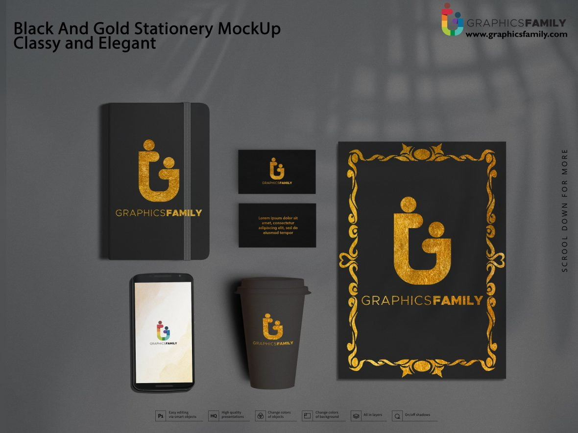 Black And Gold Stationery MockUp Classy and Elegant