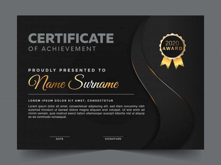 Black and gold multipurpose certificate template design