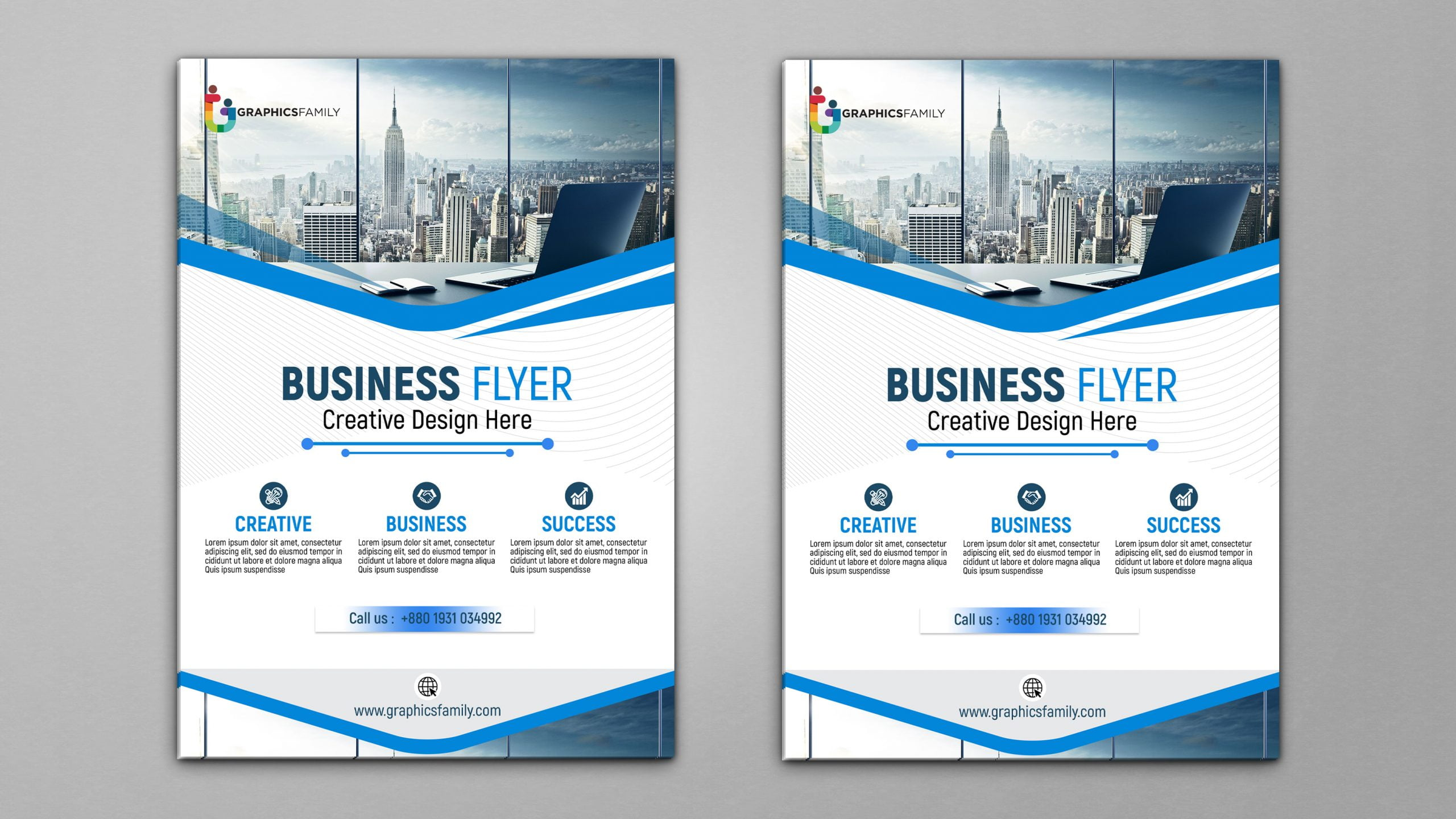 Blue and white business brochure Download