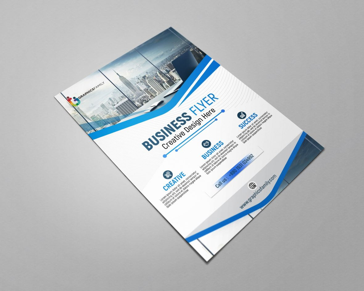 Blue and white business brochure by GraphicsFamily Free Download