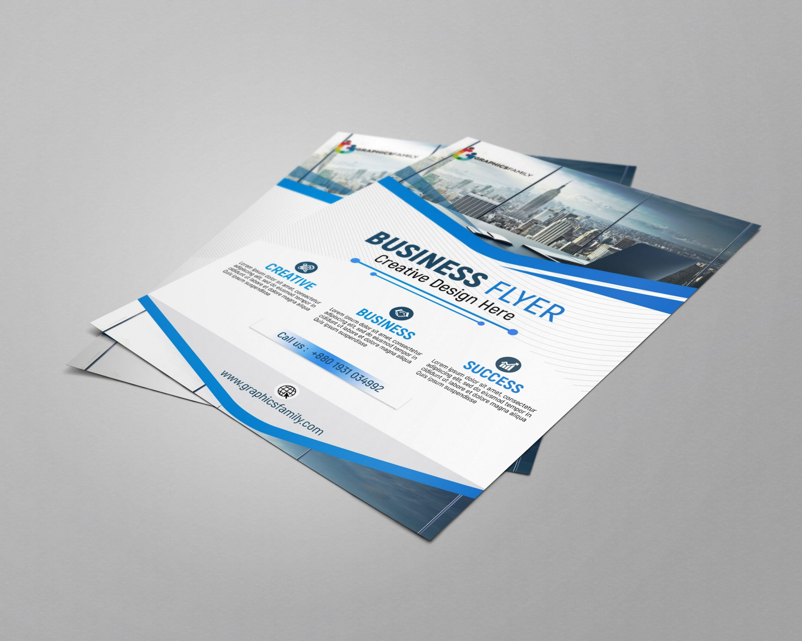 Blue and white business brochure by GraphicsFamily