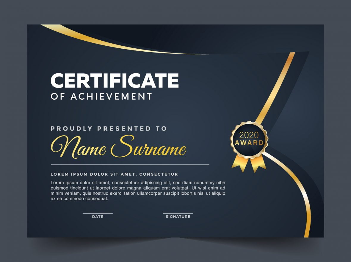 Blue with Golden Line and Ribbon Certificate of Appreciation Design