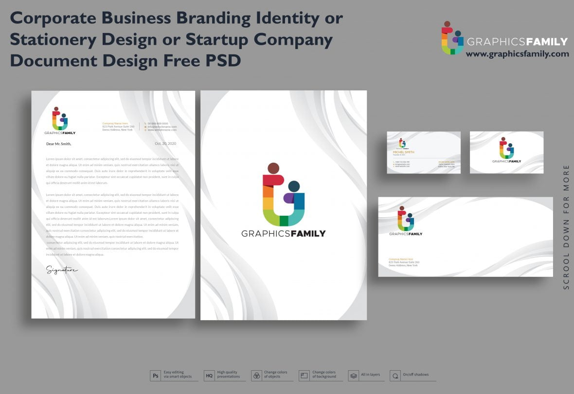 Corporate Business Branding Identity or Stationery Design or Startup Company Document Design Free Psd