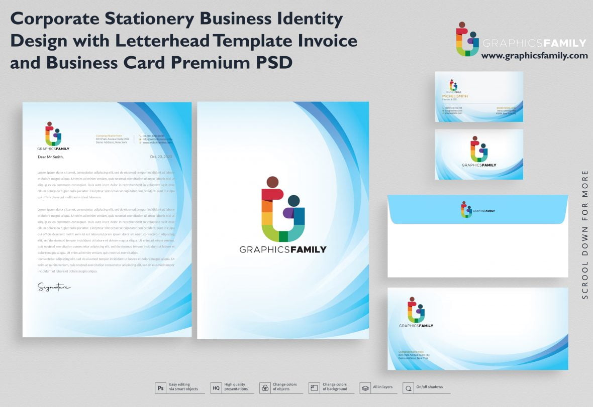 Corporate Stationery Business Identity Design with Letterhead Template