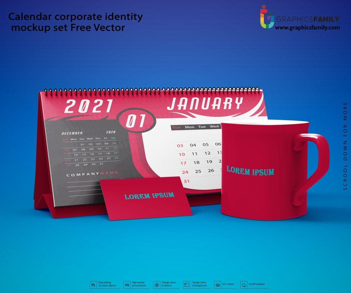 Calendar corporate identity mockup set Free Vector Download