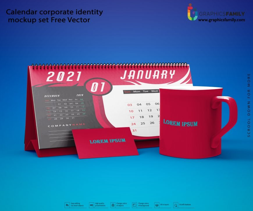 Calendar corporate identity mockup set Free Vector Download