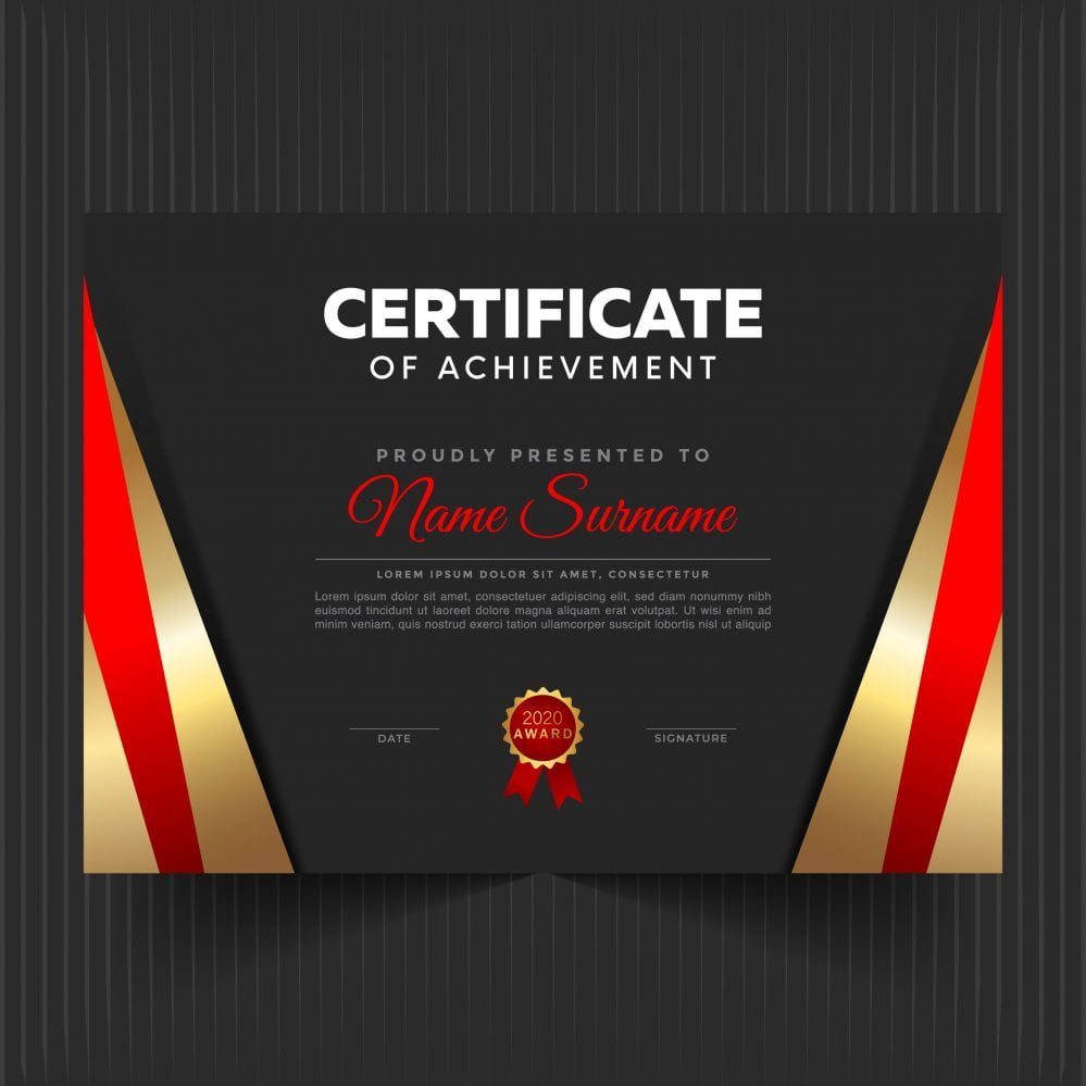 🏆 Certificate Template With Luxury And Modern Pattern