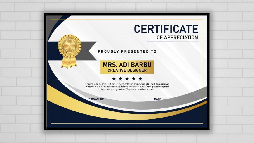 Certificate of Achievement Template Free PSD