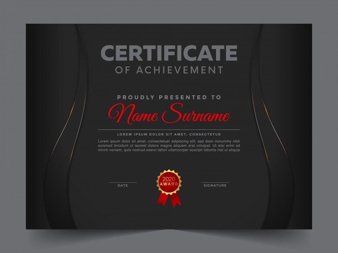 Certificate of appreciation black professional template