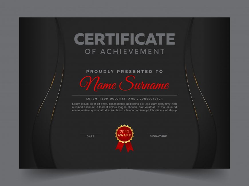 Certificate of appreciation black professional template