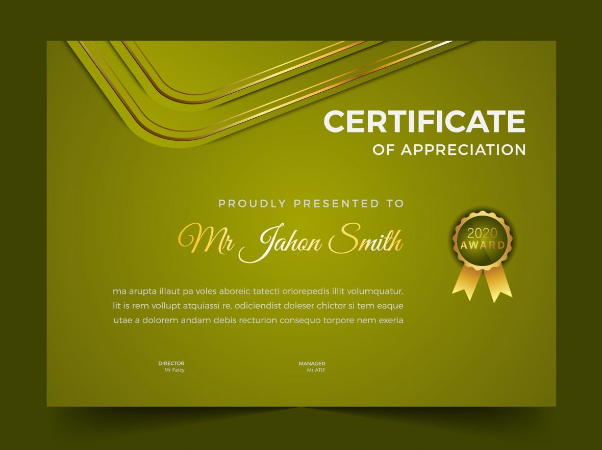 Certificate of appreciation green theme template design