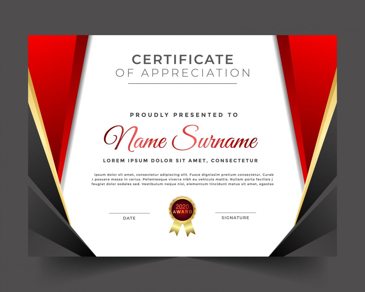 Certificate of appreciation luxury red theme template design