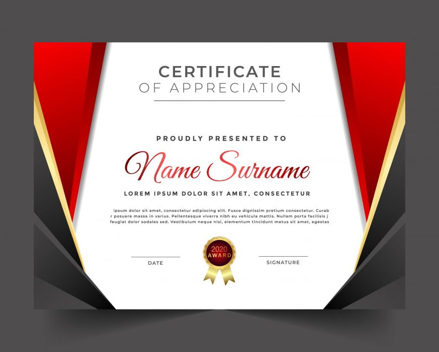 Certificate of appreciation luxury red theme template design