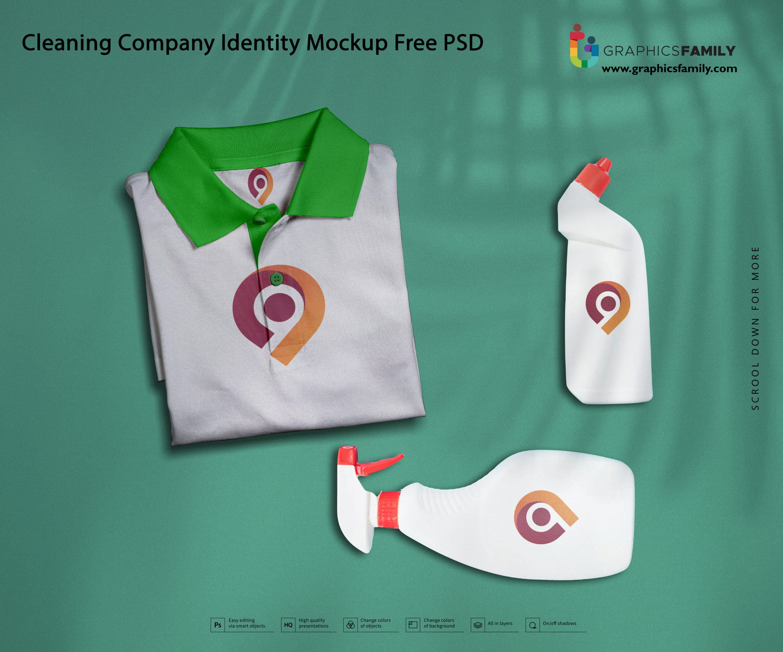 Cleaning Company Identity Mockup Free PSD Download