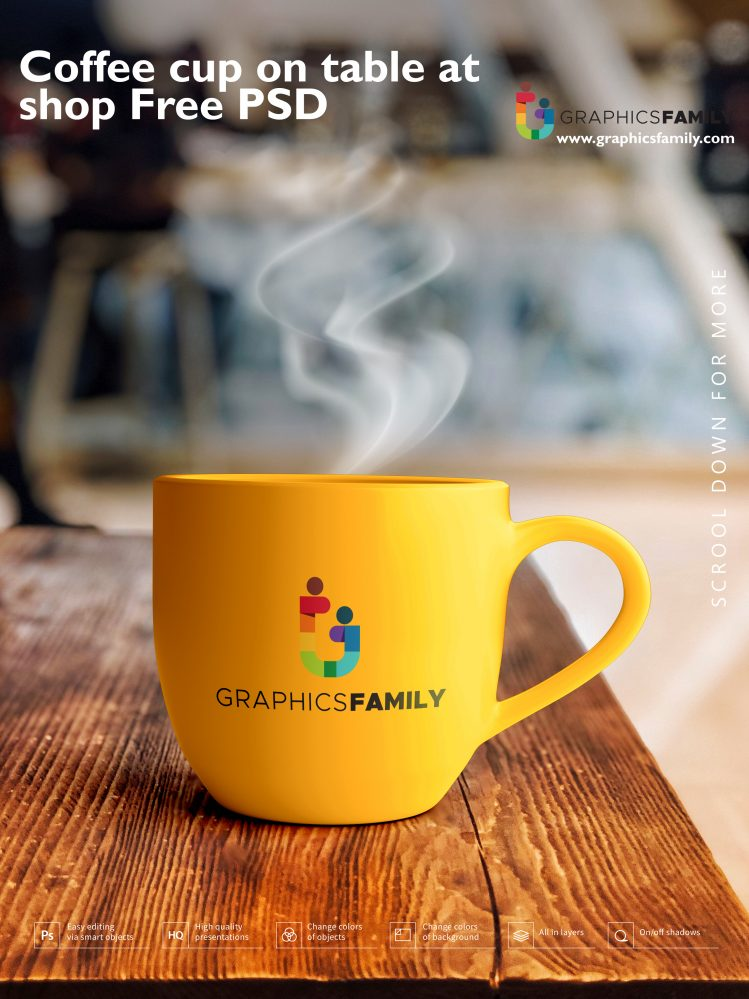 Coffee cup on table at shop Free PSD