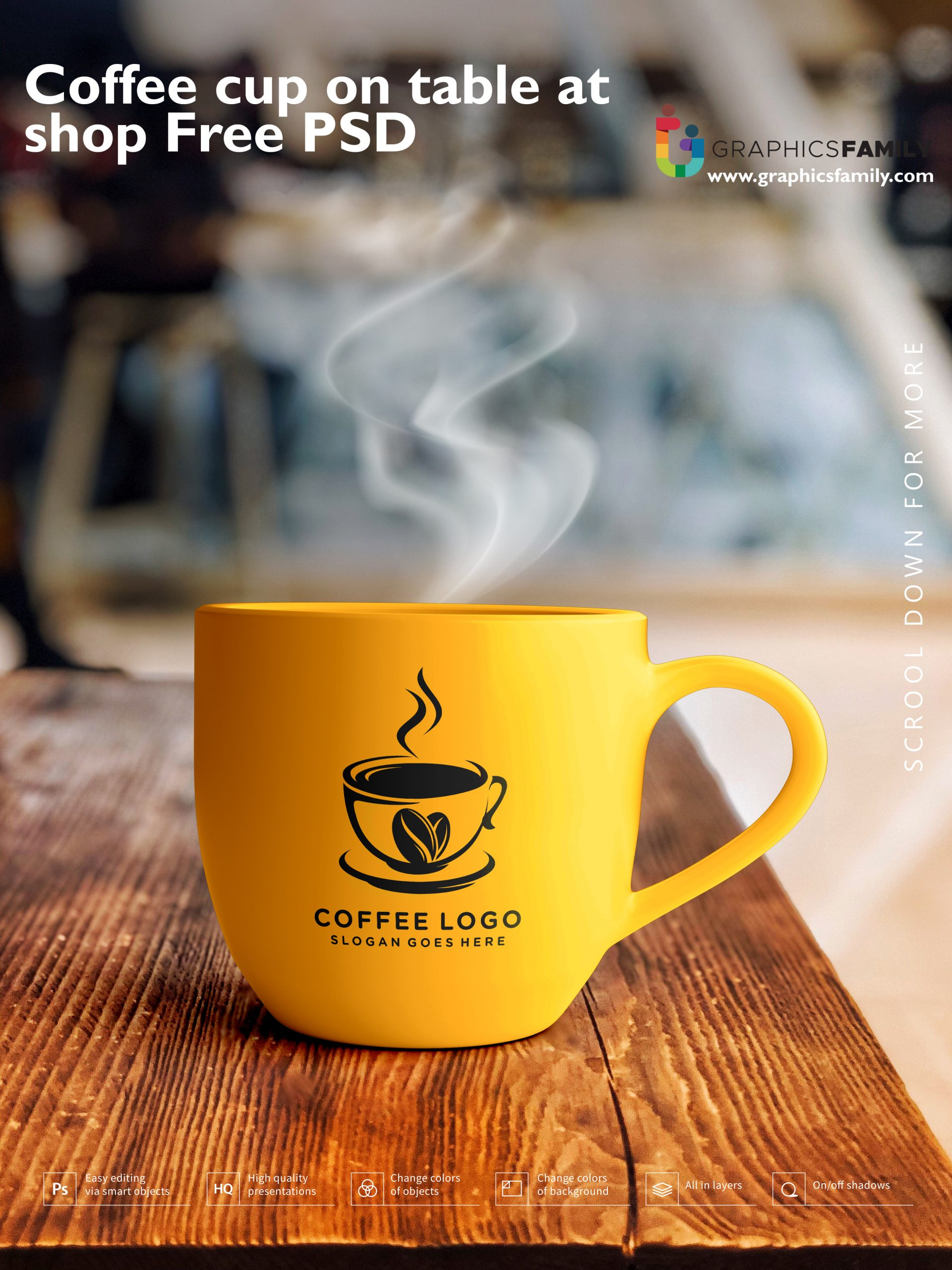 Coffee cup on table at shop Free PSD Download
