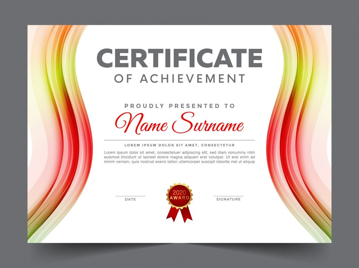 Colorful recognition certificate