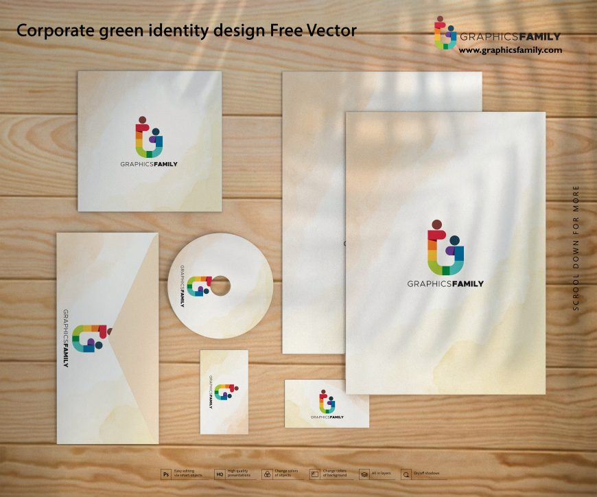Corporate green identity design Free Vector