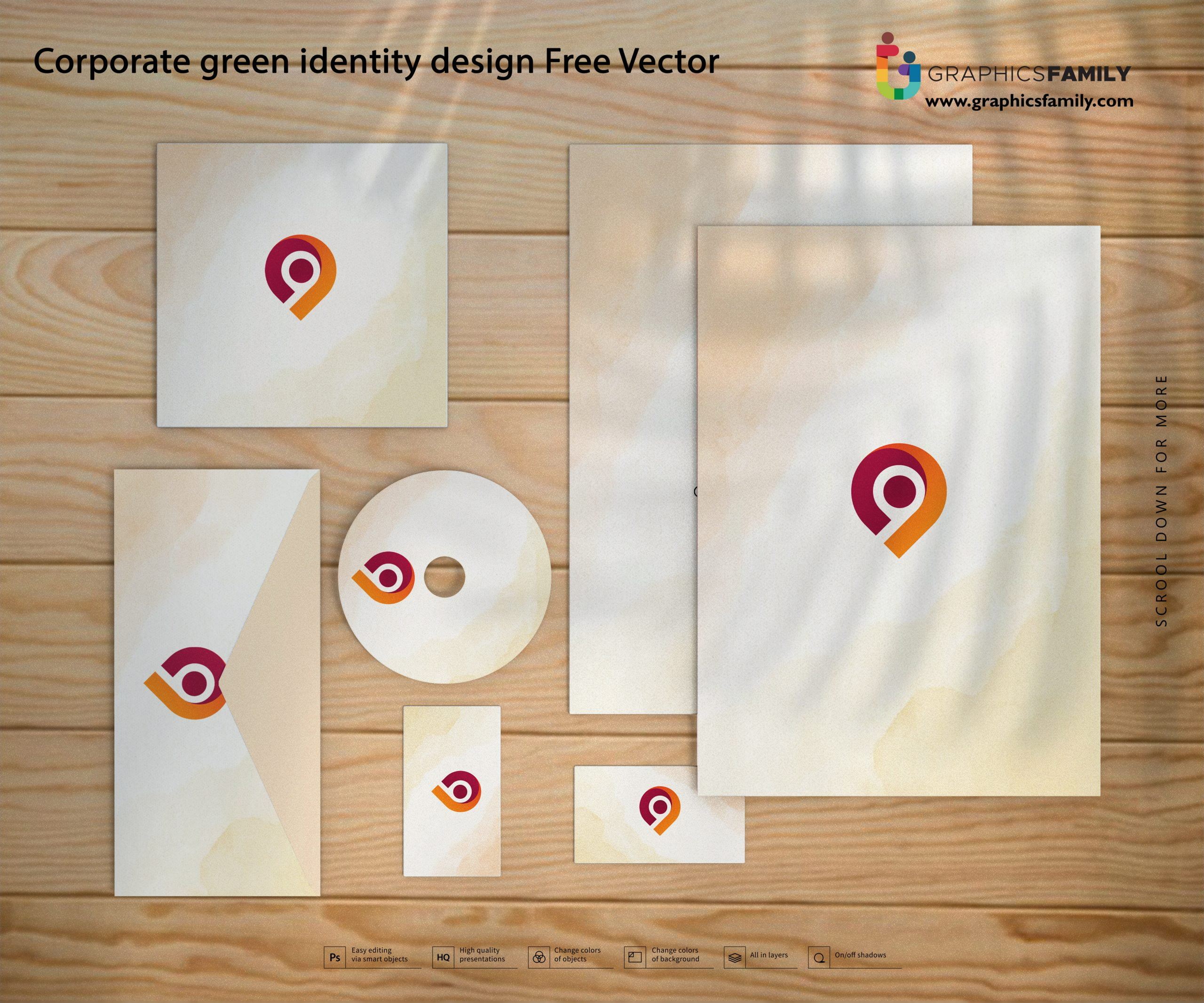 Corporate green identity design Free Vector Download