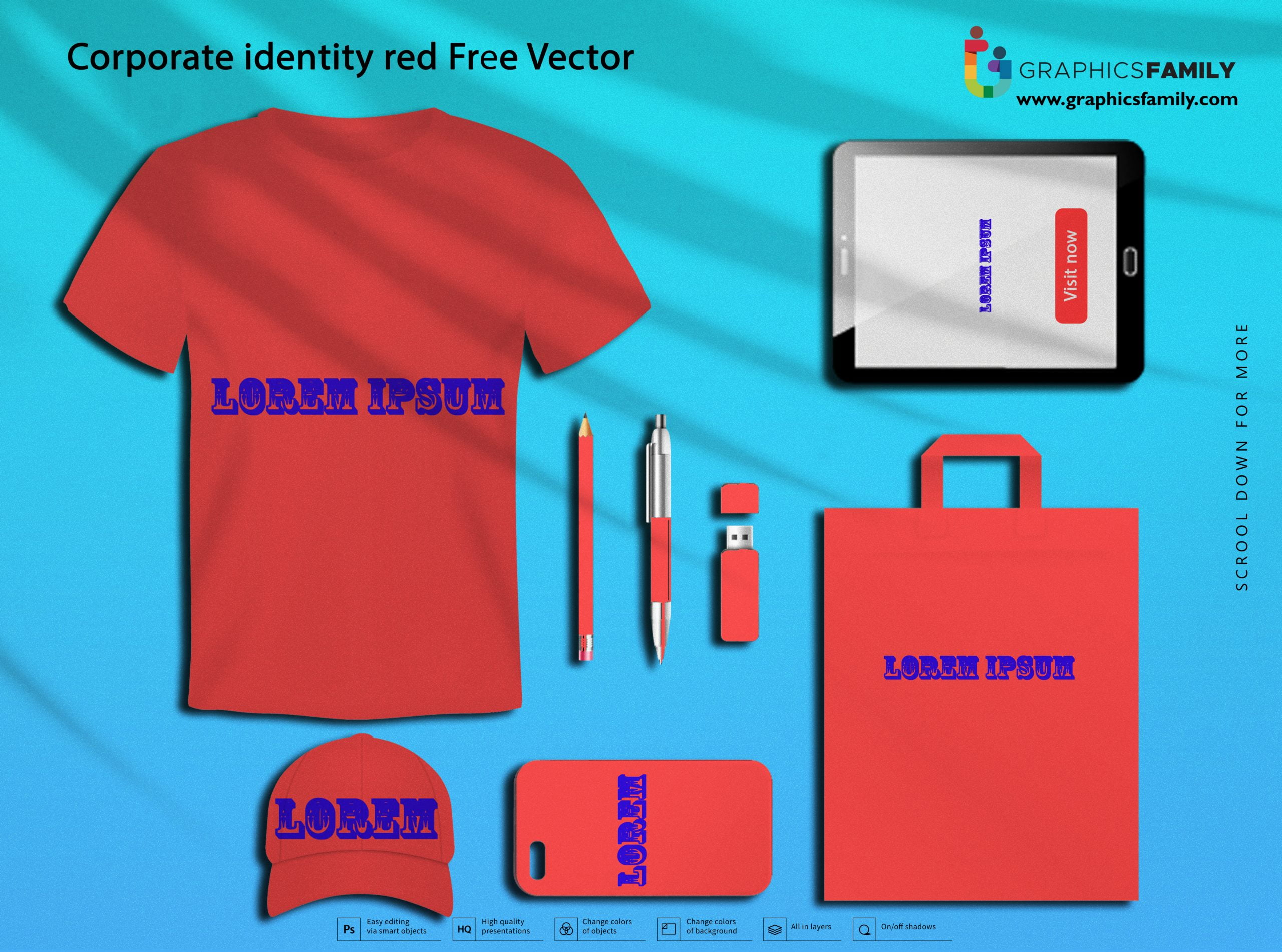 Corporate identity red Free Vector Download
