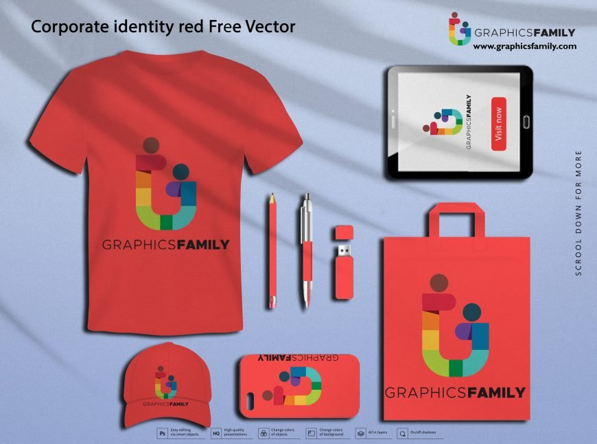 Corporate identity red Free Vector