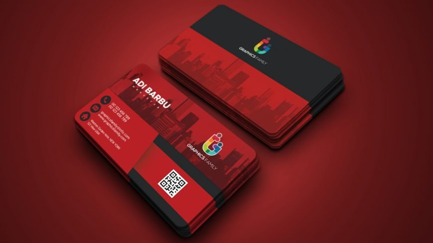 Dark red Real Estate Business Card Professional Template Design