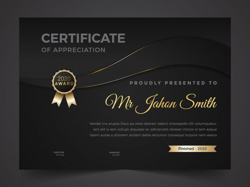Diploma certificate template in dark theme