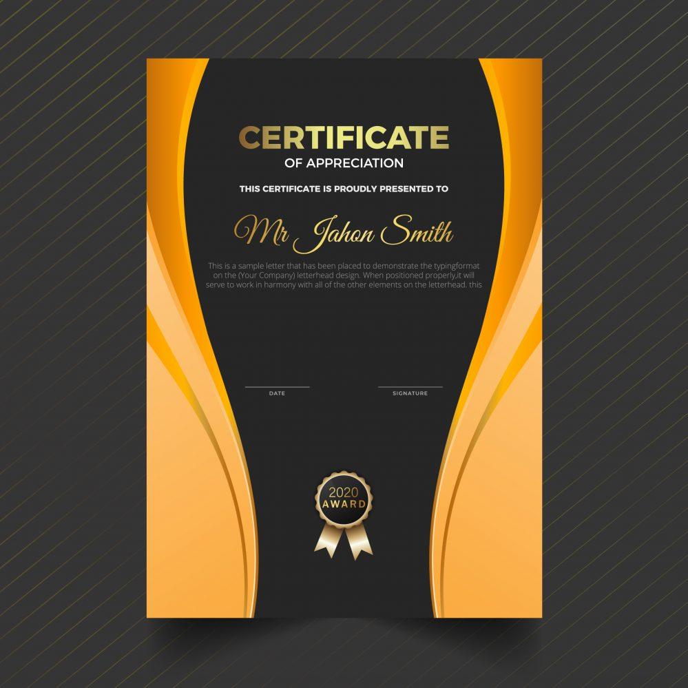 ⭐ Editable Portrait Certificate of Appreciation Template