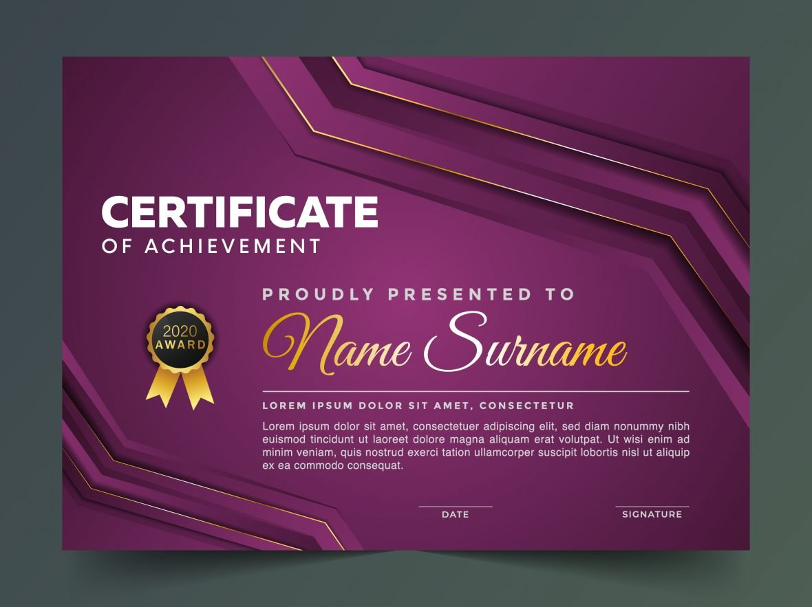 ⏫ Elegance Horizontal Certificate With Vector Illustration