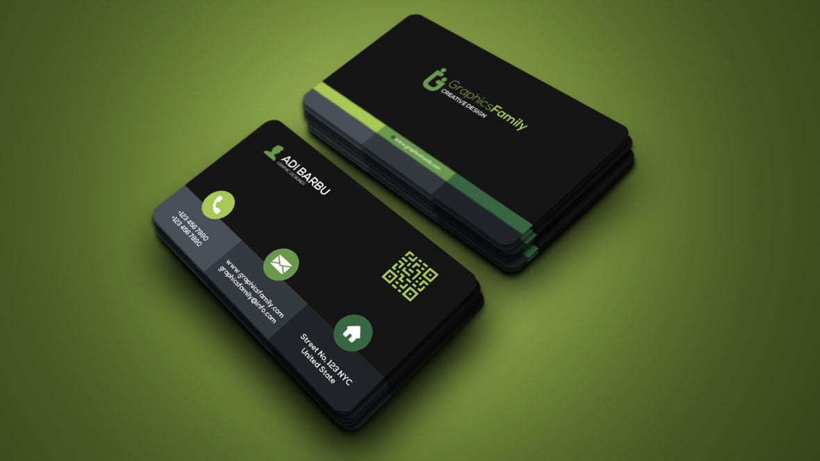 Elegant Green Dark Business Card Template Design