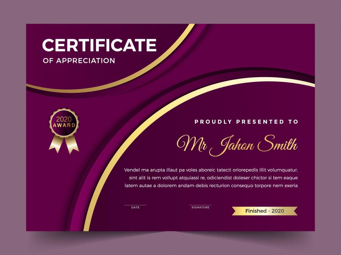 Elegant Purple Diploma Certificate Template