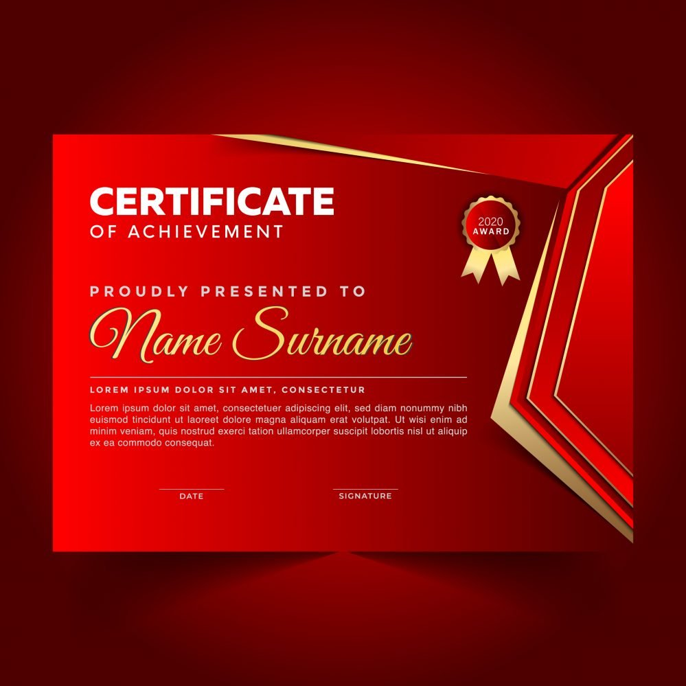 Elegant Red Certificate of Achievement Template Design