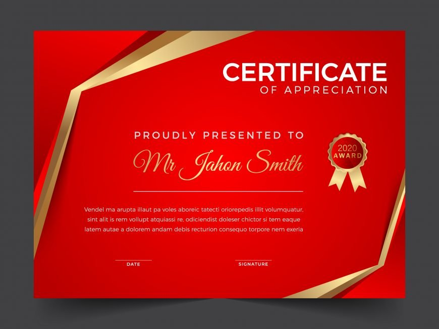 🔻 Elegant Red and Gold Diploma Certificate Template