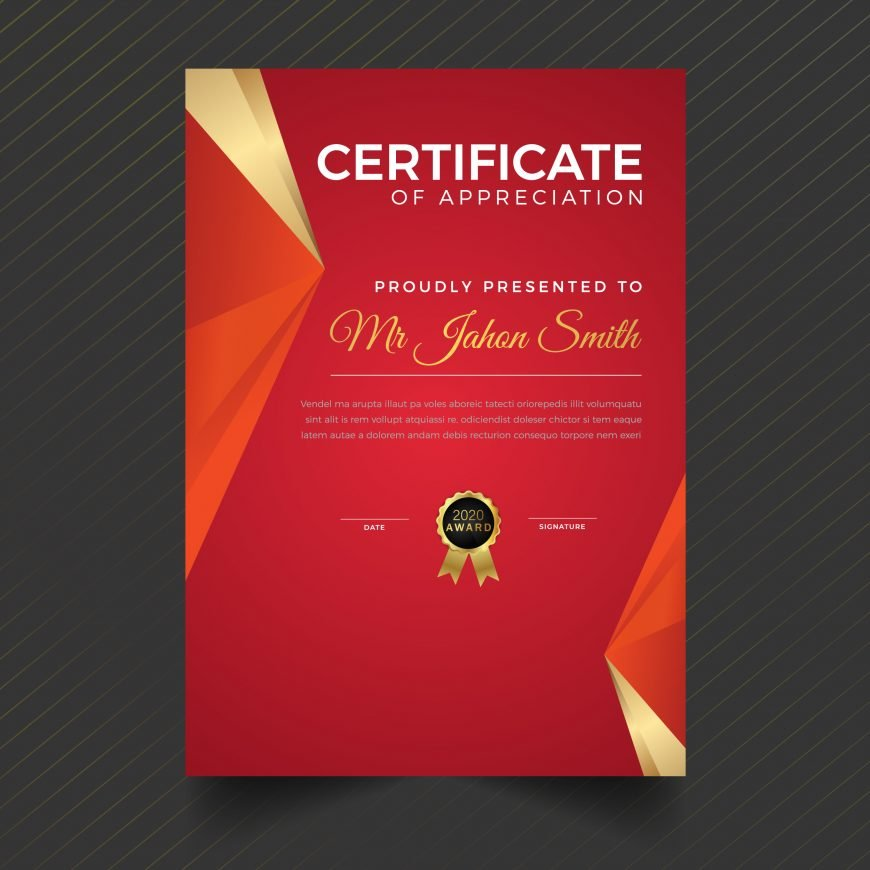 "№Ÿ€""№Ÿ""Д Elegant Red and Gold Portrait Style Diploma Certificate Template"