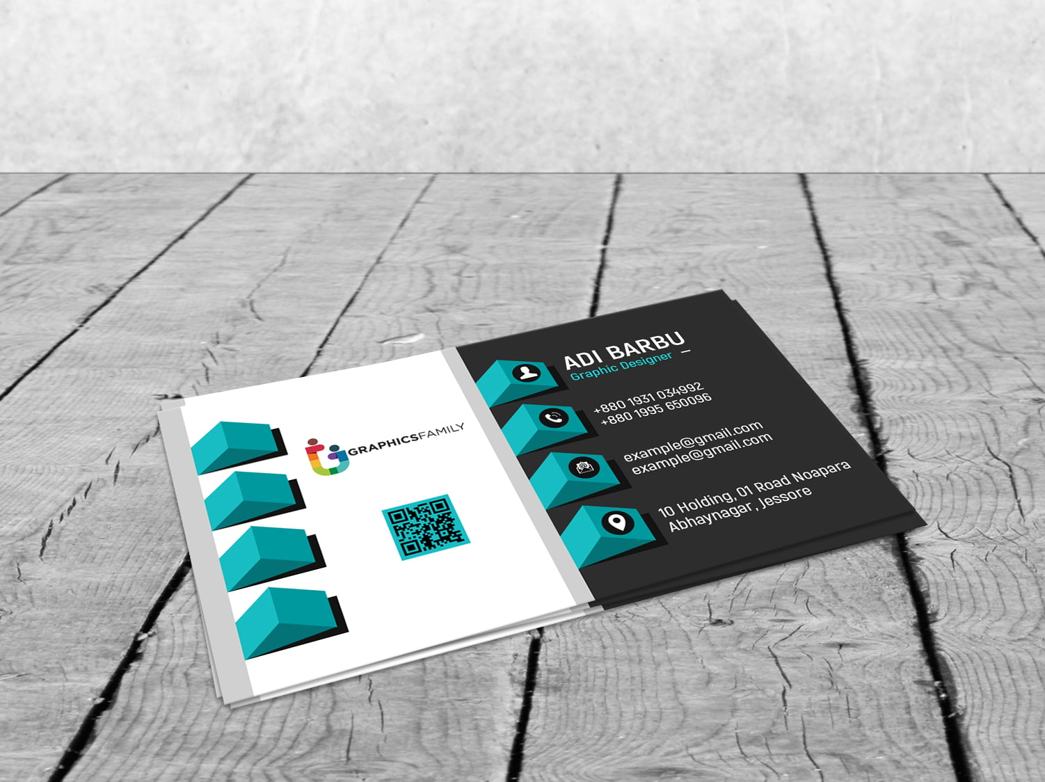 Elegant realistic 3D Business Card Template Free Download