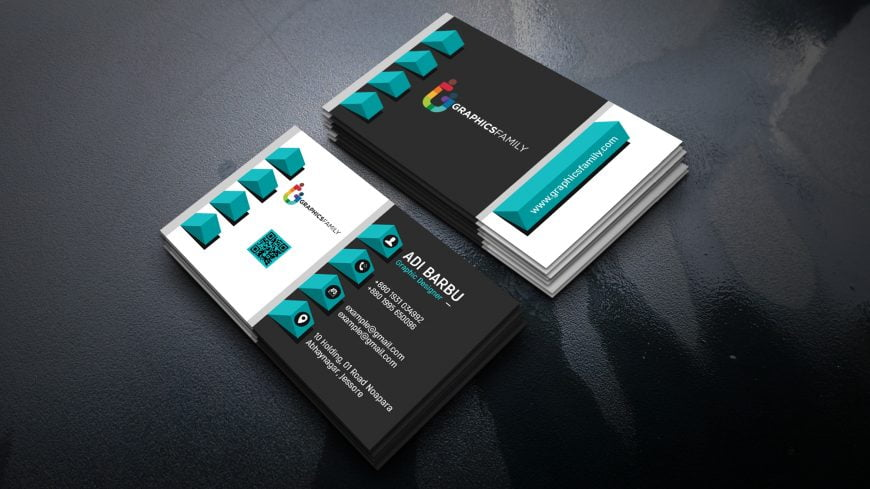 Elegant realistic 3D Business Card Template Free Psd