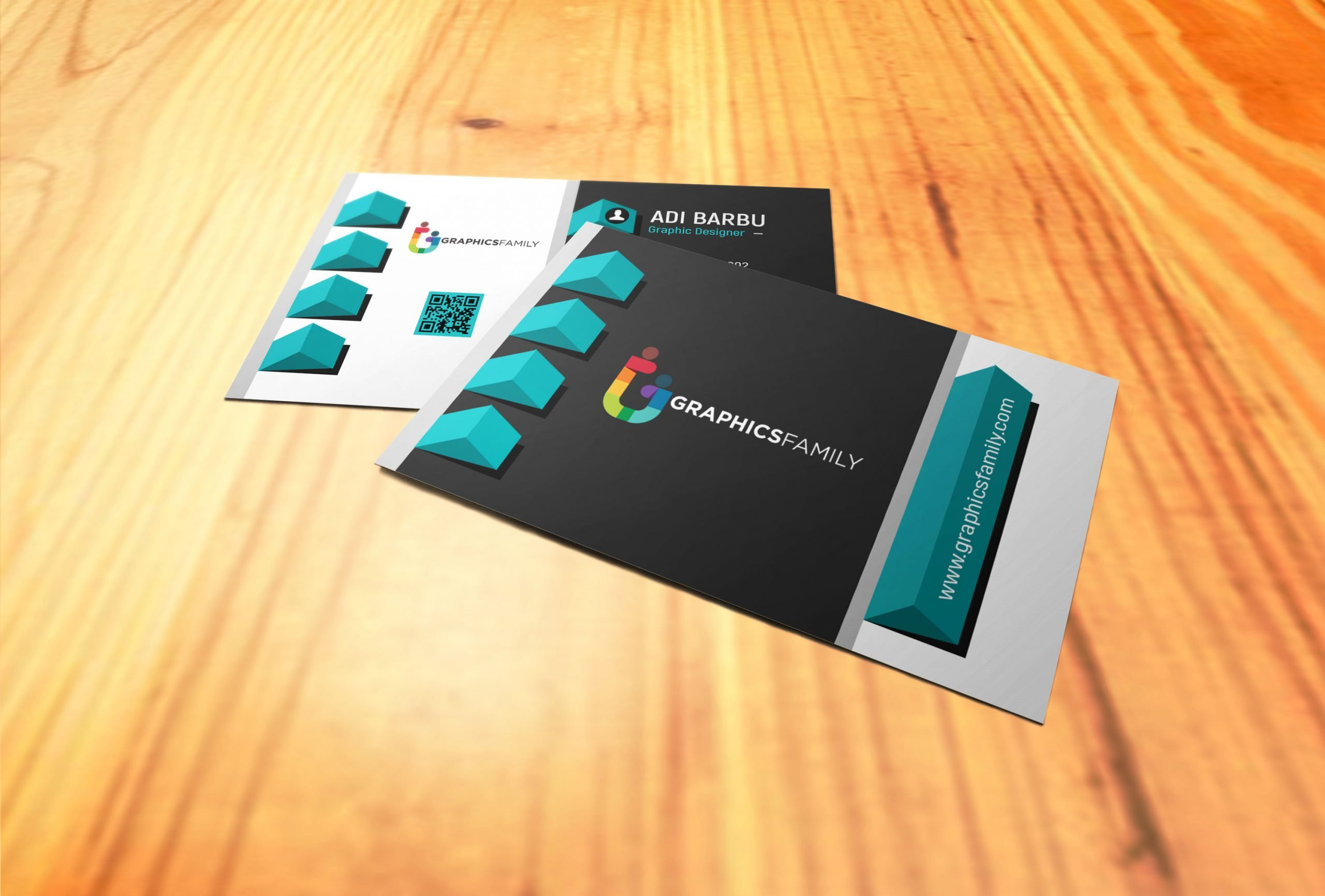Elegant realistic 3D Business Card Template Free Psd Download
