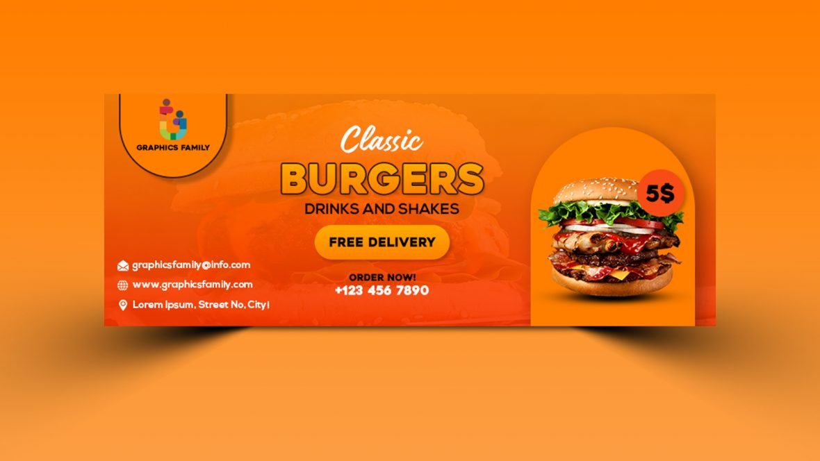 Fast food promotion facebook cover template