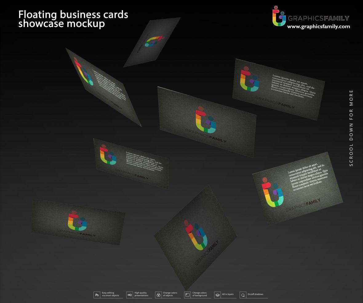 Floating business cards showcase mockup
