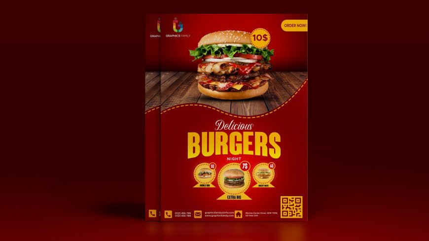 Food social media promotion and instagram banner post design flyer template