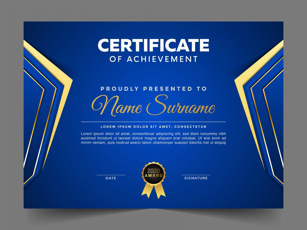Free Blue and Gold Certificate with Badge Template