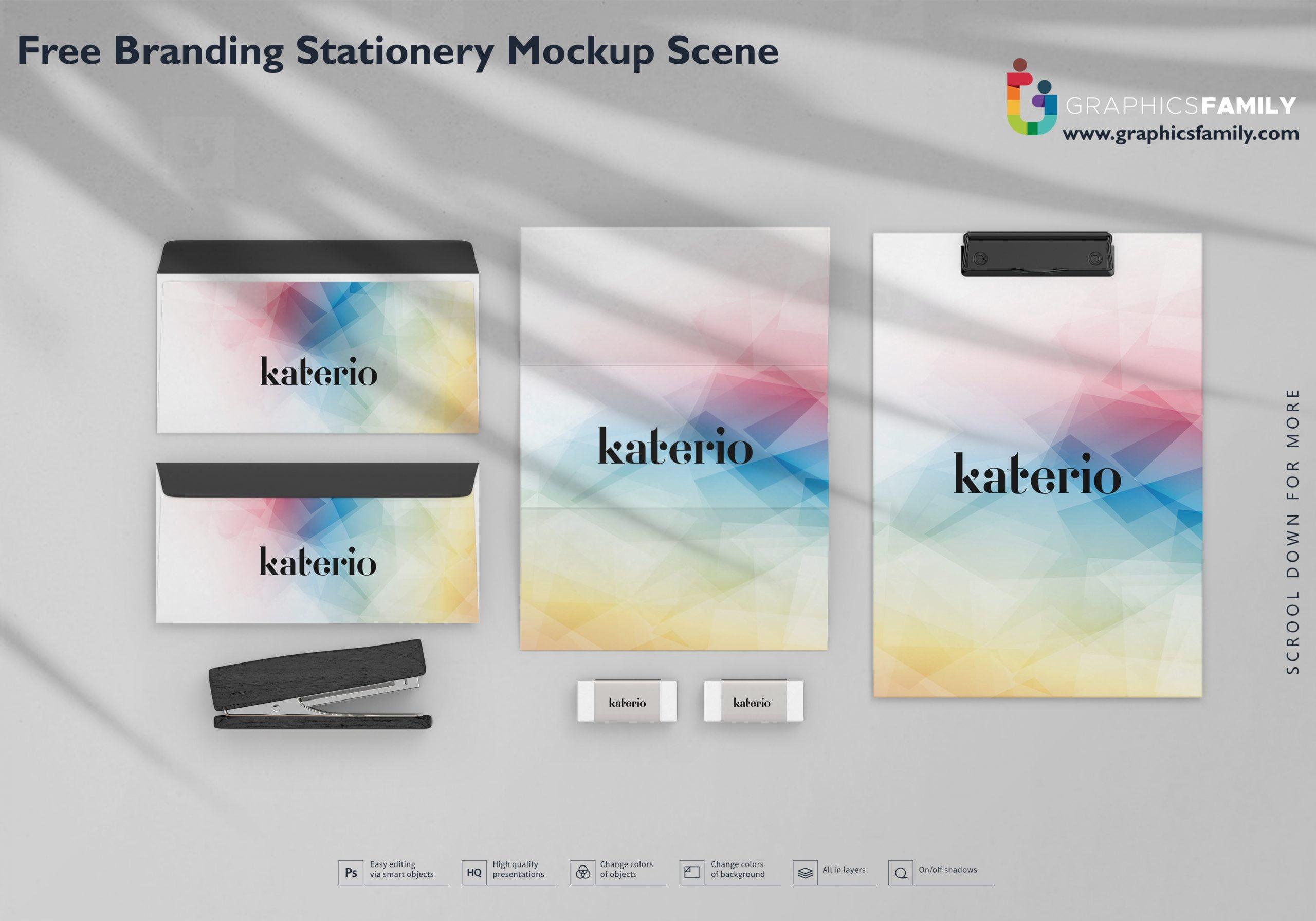 Free Branding Stationery Mockup Scene Download